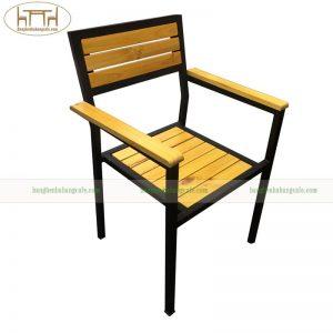 ghế khung sắt mặt gỗ thông, keo, sồi
