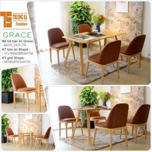 Bàn ghế gỗ phòng ăn đẹp TS305