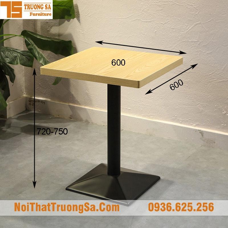 Kích thước tiêu chuẩn bàn cafe vuông đơn