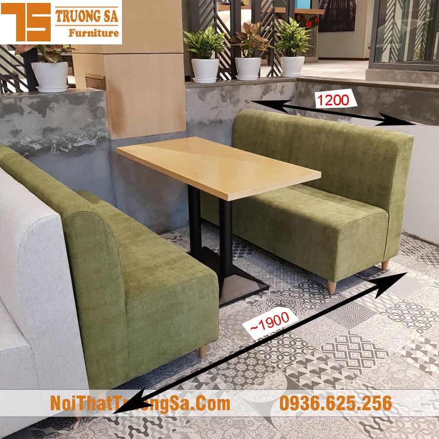 Kích thước bộ bàn ghế cafe sofa