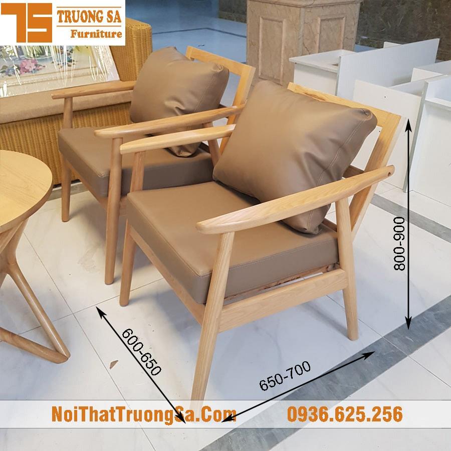 Kích thước ghế cafe sofa trung bình