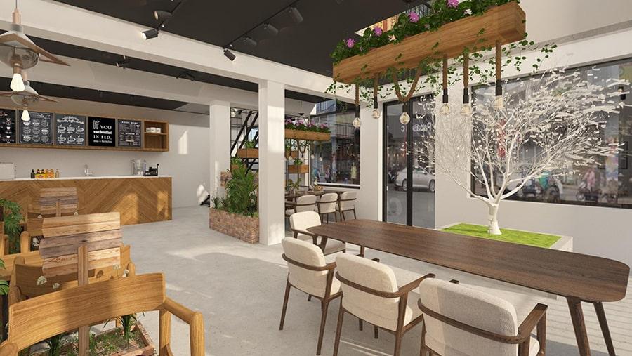 Thiết kế quán cafe 80m2 - 2 mặt tiền sang trọng