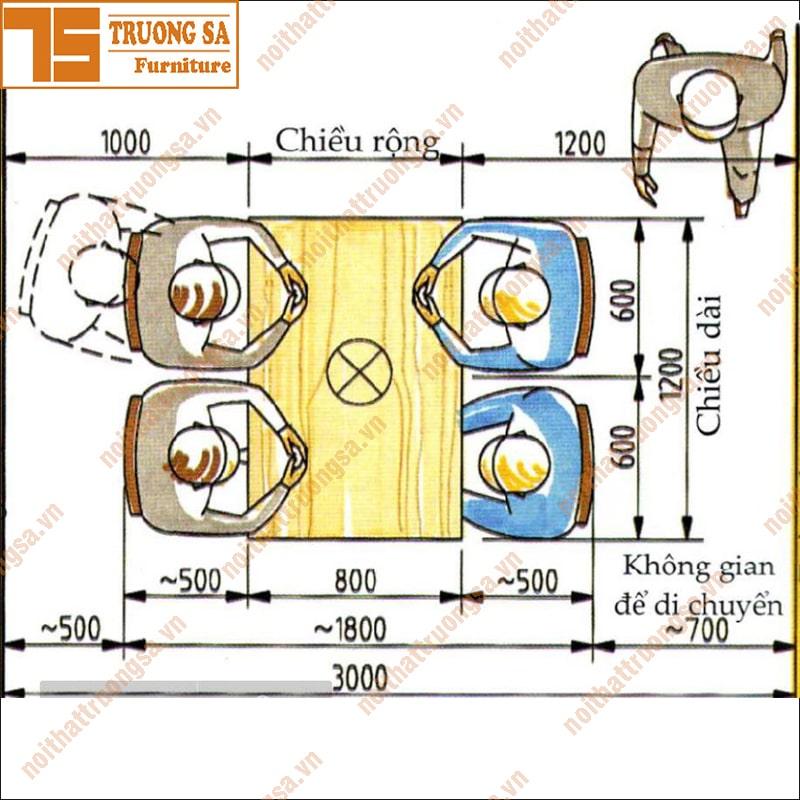 Kích thước bàn ghế ăn tiêu chuẩn