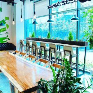 bàn cafe gỗ nguyên tấm TS111