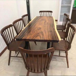 bàn ghế ăn gỗ nguyên khối TS123