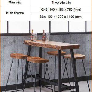 Bàn ghế bar gỗ chân sắt TS617