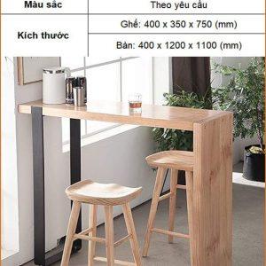 Bàn ghế bar chân gỗ TS616