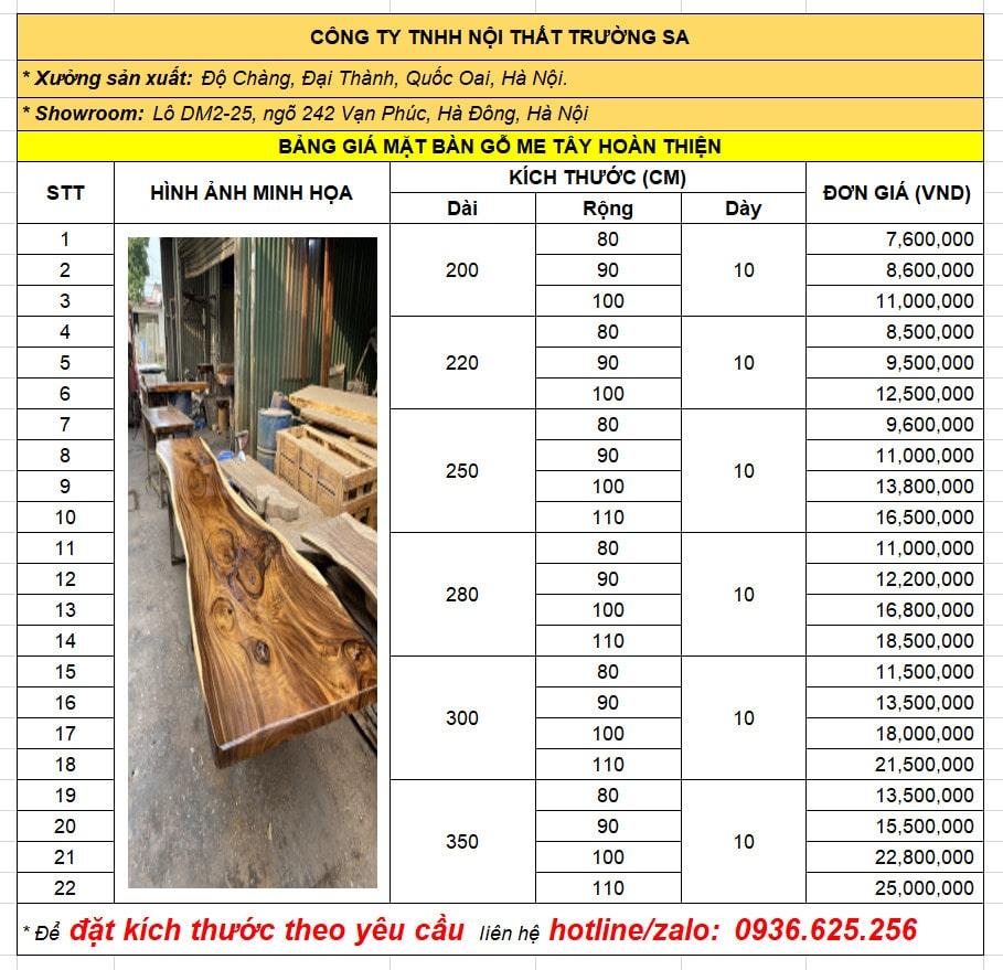 Giá bàn gỗ me tây nguyên khối