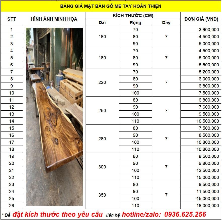 Giá bàn gỗ me tây nguyên tấm