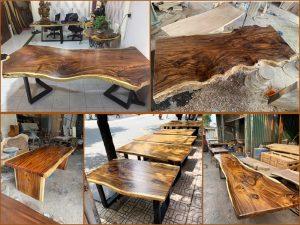 Giá mặt bàn gỗ me tây hoàn thiện