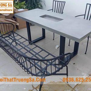 Ghế băng dài chân sắt ngoài trời TS635